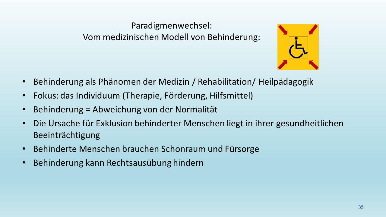 Behinderung als Phänomen der Medizin / Rehabilitation/ Heilpädagogik Fokus: das Individuum (Therapie, Förderung, Hilfsmittel) Behinderung = Abweichung