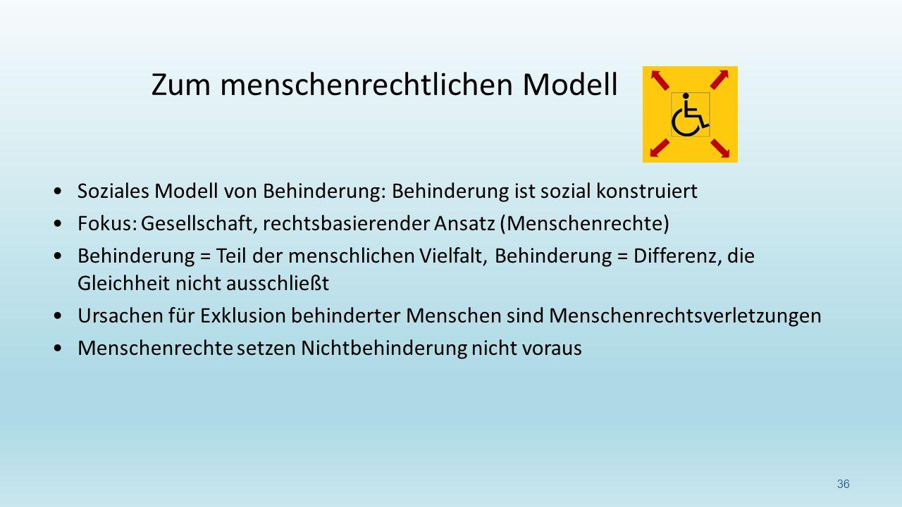 Soziales Modell von Behinderung: Behinderung ist sozial konstruiert Fokus: Gesellschaft, rechtsbasierender Ansatz (Menschenrechte) Behinderung = Teil