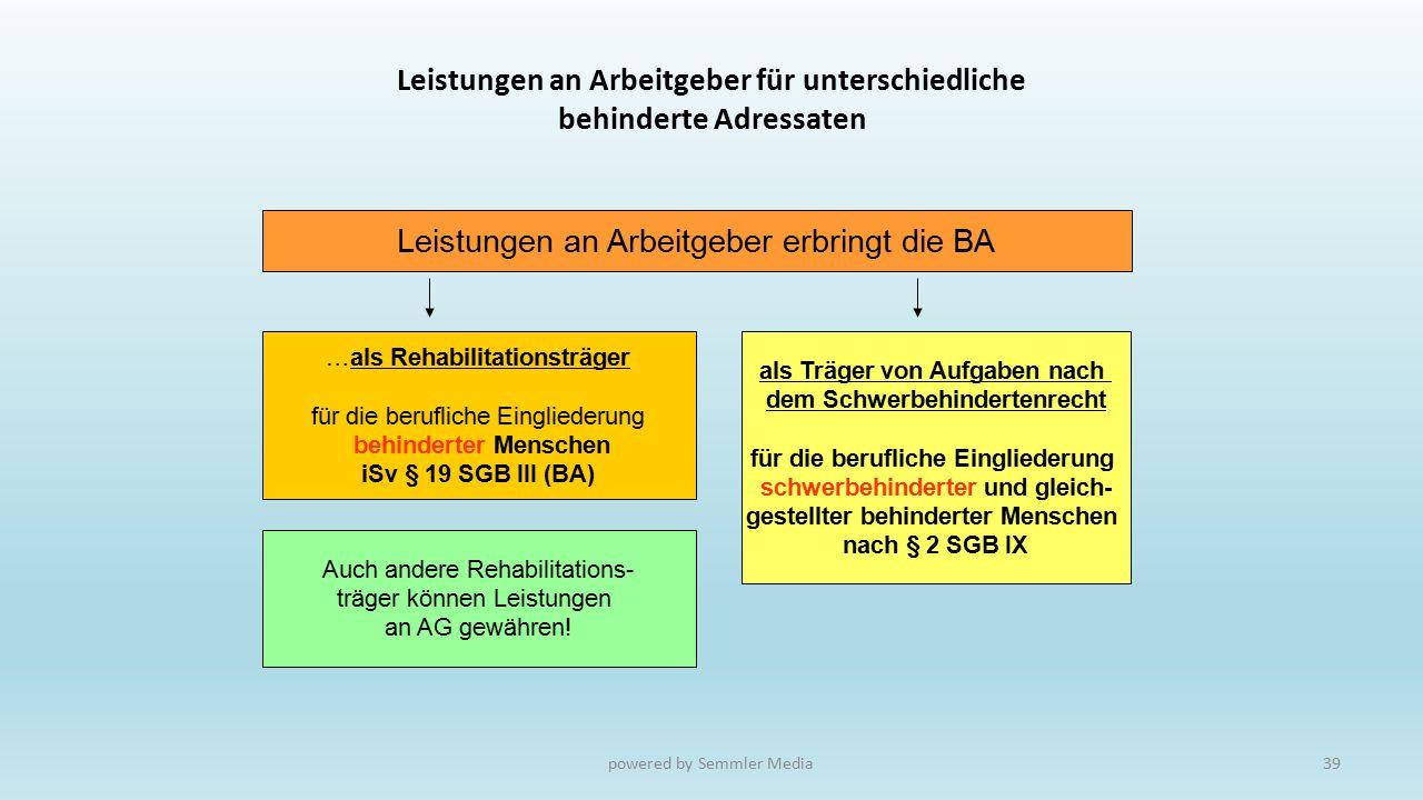 Leistungen an Arbeitgeber für unterschiedliche behinderte Adressaten Leistungen an Arbeitgeber erbringt die BA …als Rehabilitationsträger für die beru