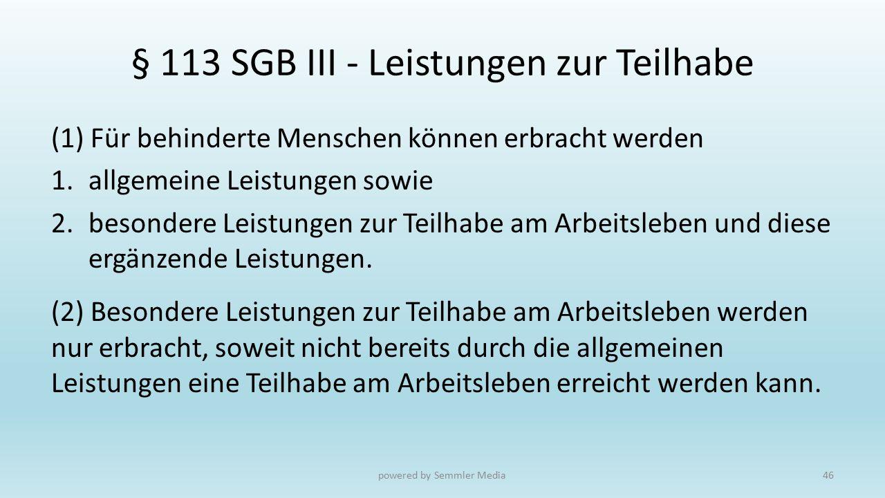 § 113 SGB III - Leistungen zur Teilhabe (1) Für behinderte Menschen können erbracht werden 1.allgemeine Leistungen sowie 2.besondere Leistungen zur Te