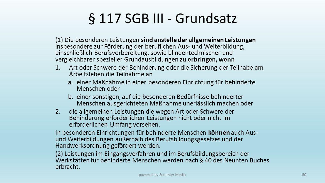 § 117 SGB III - Grundsatz (1) Die besonderen Leistungen sind anstelle der allgemeinen Leistungen insbesondere zur Förderung der beruflichen Aus- und W