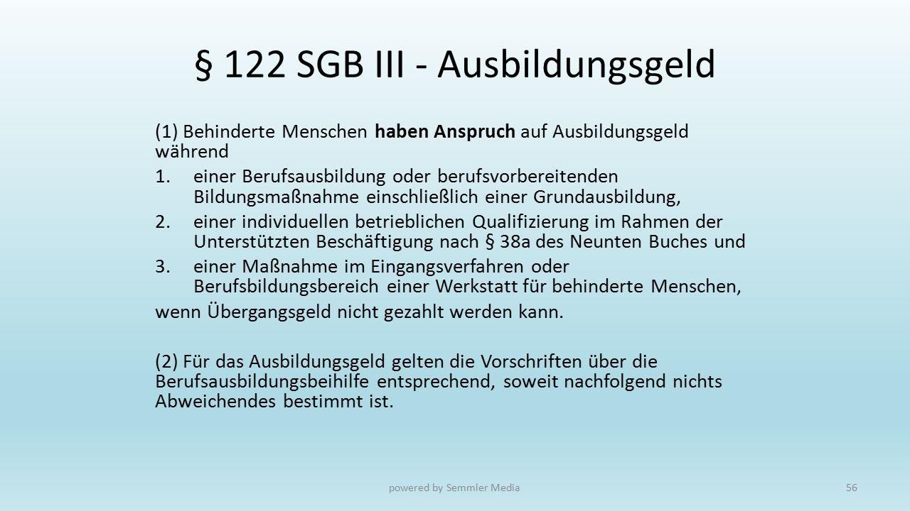 § 122 SGB III - Ausbildungsgeld (1) Behinderte Menschen haben Anspruch auf Ausbildungsgeld während 1.einer Berufsausbildung oder berufsvorbereitenden