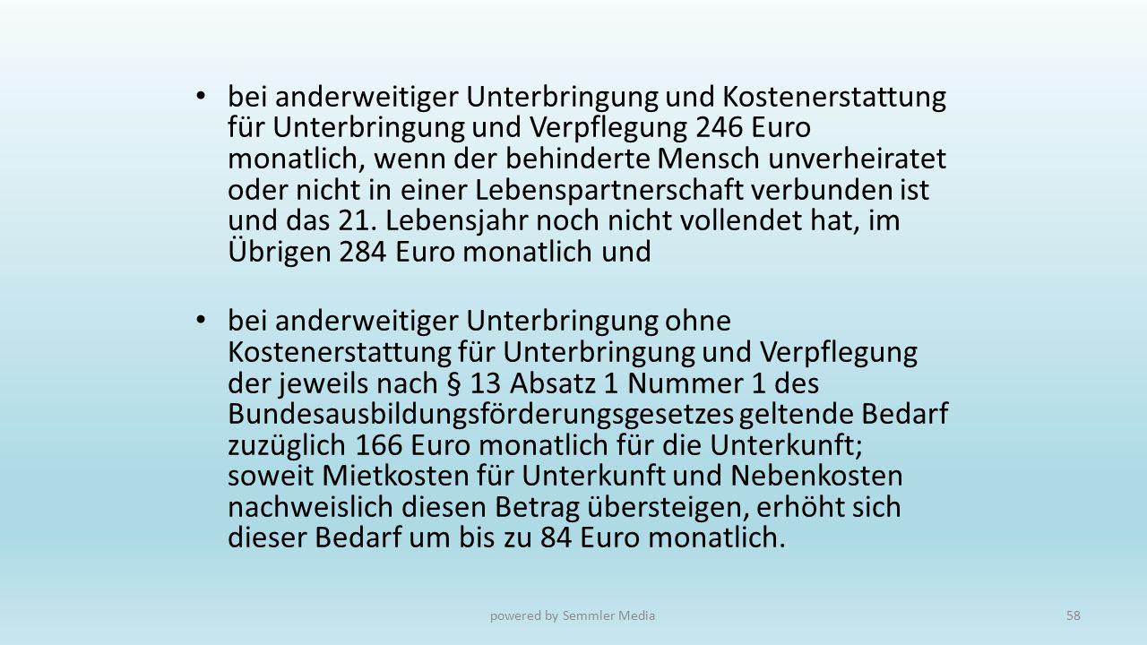 bei anderweitiger Unterbringung und Kostenerstattung für Unterbringung und Verpflegung 246 Euro monatlich, wenn der behinderte Mensch unverheiratet od