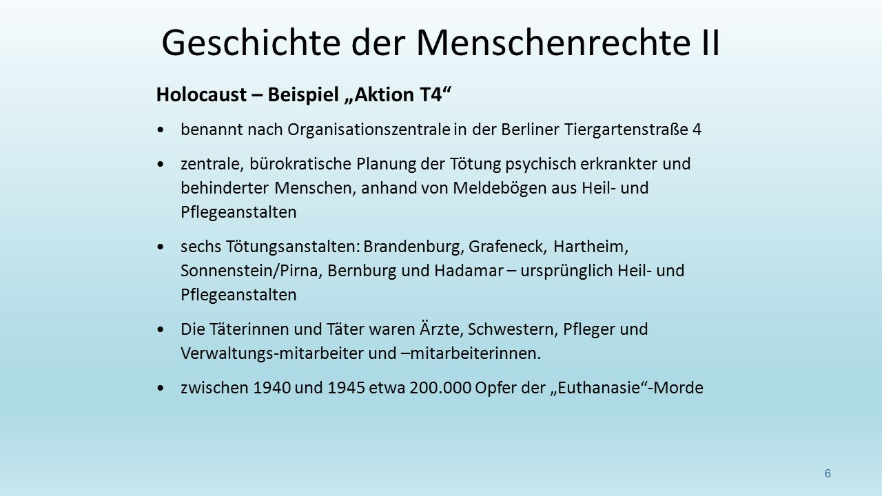 """Holocaust – Beispiel """"Aktion T4"""" benannt nach Organisationszentrale in der Berliner Tiergartenstraße 4 zentrale, bürokratische Planung der Tötung psyc"""