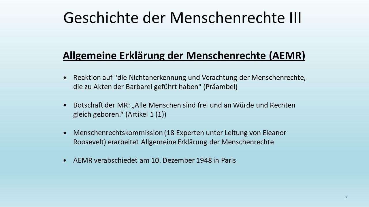 Allgemeine Erklärung der Menschenrechte (AEMR) Reaktion auf