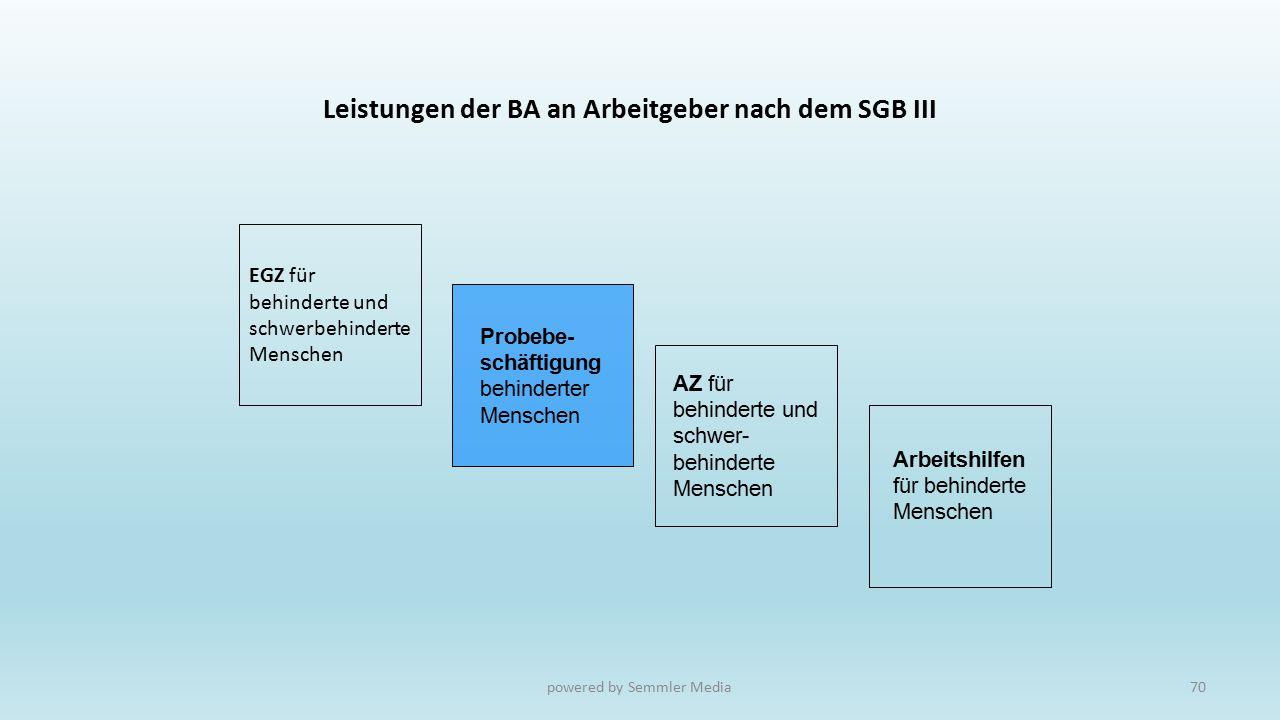 Leistungen der BA an Arbeitgeber nach dem SGB III Arbeitshilfen für behinderte Menschen Probebe- schäftigung behinderter Menschen EGZ für behinderte u