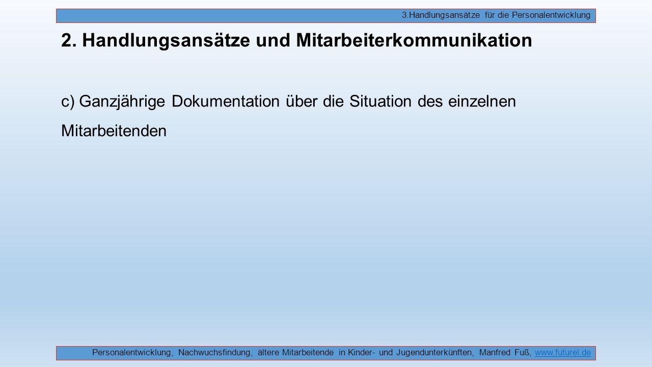 2. Handlungsansätze und Mitarbeiterkommunikation c) Ganzjährige Dokumentation über die Situation des einzelnen Mitarbeitenden Personalentwicklung, Nac