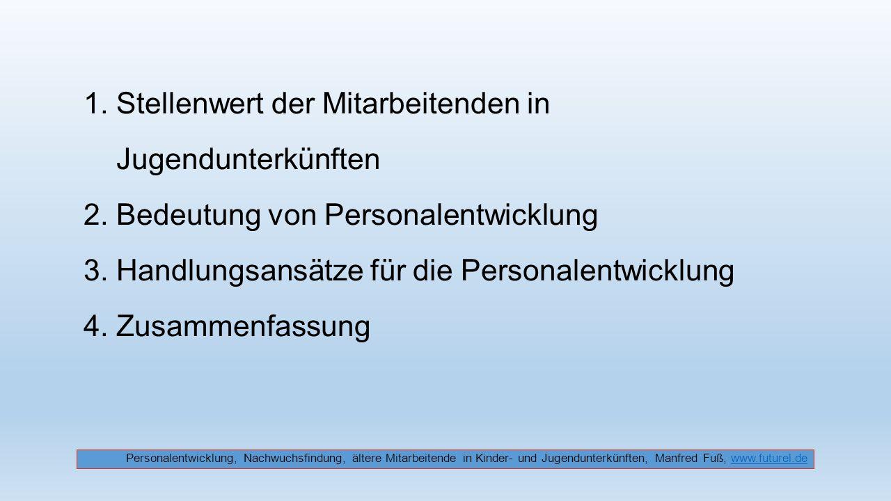 1. Stellenwert der Mitarbeitenden in Jugendunterkünften 2. Bedeutung von Personalentwicklung 3. Handlungsansätze für die Personalentwicklung 4. Zusamm