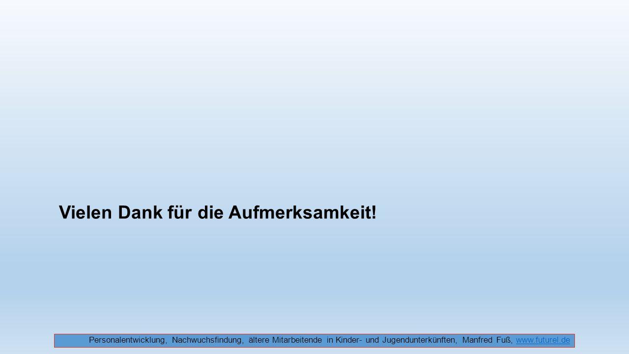 Vielen Dank für die Aufmerksamkeit! Personalentwicklung, Nachwuchsfindung, ältere Mitarbeitende in Kinder- und Jugendunterkünften, Manfred Fuß, www.fu