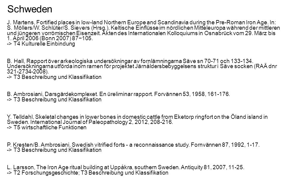 Schweden J. Martens, Fortified places in low-land Northern Europe and Scandinavia during the Pre-Roman Iron Age. In: S. Möllers/W. Schlüter/S. Sievers