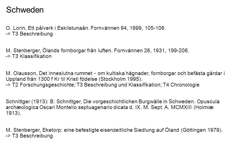 Schweden O. Lorin, Ett pålverk i Eskilstunaån. Fornvännen 94, 1999, 105-106. -> T3 Beschreibung M. Stenberger, Ölands fornborgar från luften. Fornvänn