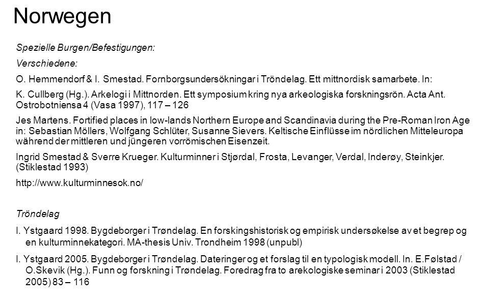 Norwegen Spezielle Burgen/Befestigungen: Verschiedene: O. Hemmendorf & I. Smestad. Fornborgsundersökningar i Tröndelag. Ett mittnordisk samarbete. In: