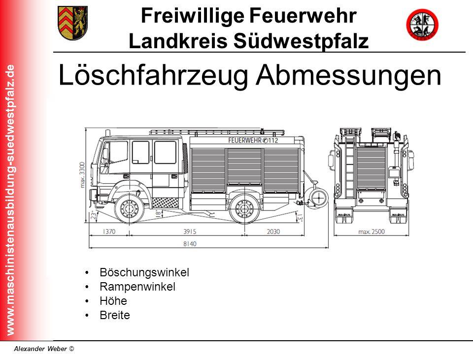 Alexander Weber © Freiwillige Feuerwehr Landkreis Südwestpfalz www.maschinistenausbildung-suedwestpfalz.de Löschfahrzeug Abmessungen Böschungswinkel R