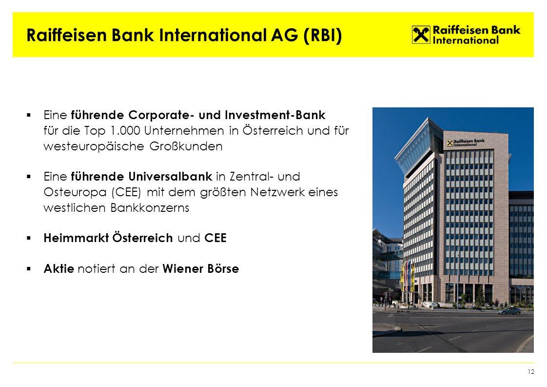 Raiffeisen Bank International AG (RBI)  Eine führende Corporate- und Investment-Bank für die Top 1.000 Unternehmen in Österreich und für westeuropäische Großkunden  Eine führende Universalbank in Zentral- und Osteuropa (CEE) mit dem größten Netzwerk eines westlichen Bankkonzerns  Heimmarkt Österreich und CEE  Aktie notiert an der Wiener Börse 12