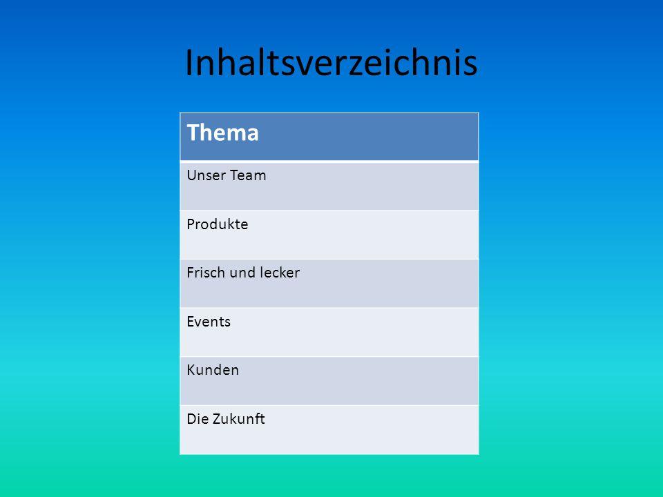 Inhaltsverzeichnis Thema Unser Team Produkte Frisch und lecker Events Kunden Die Zukunft
