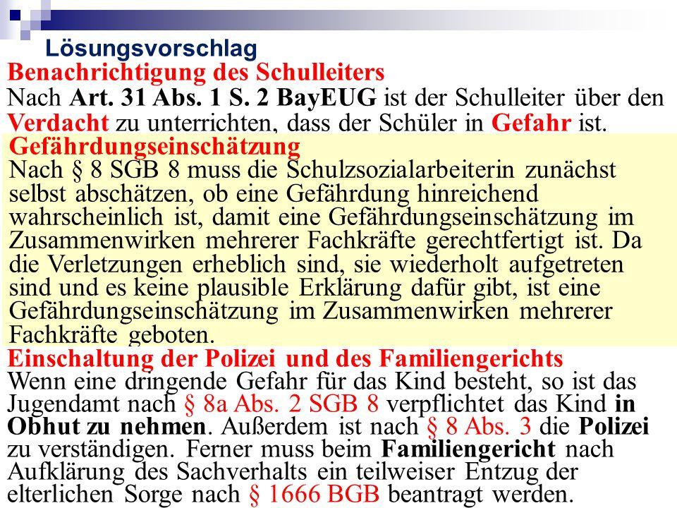 Benachrichtigung des Schulleiters Nach Art.31 Abs.