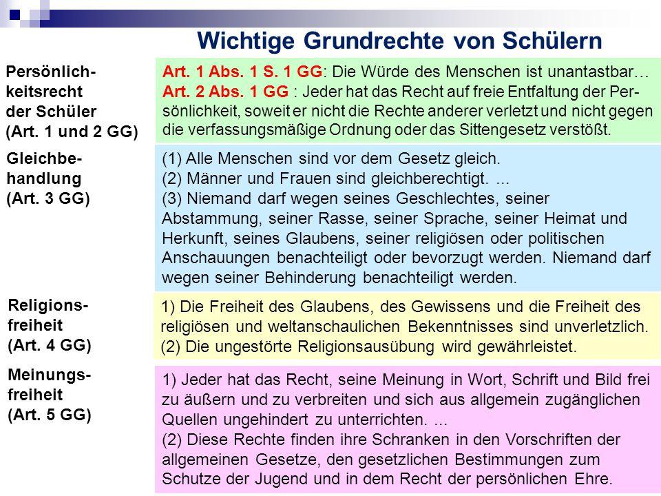 Wichtige Grundrechte von Schülern Gleichbe- handlung (Art.