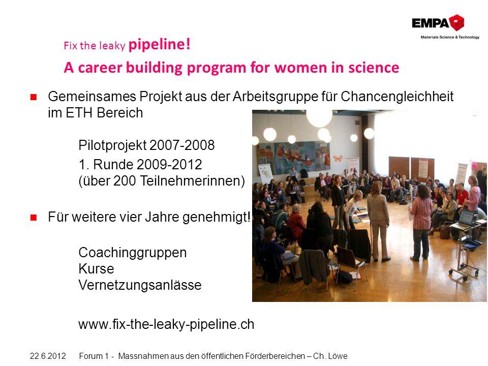 Gemeinsames Projekt aus der Arbeitsgruppe für Chancengleichheit im ETH Bereich Pilotprojekt 2007-2008 1.