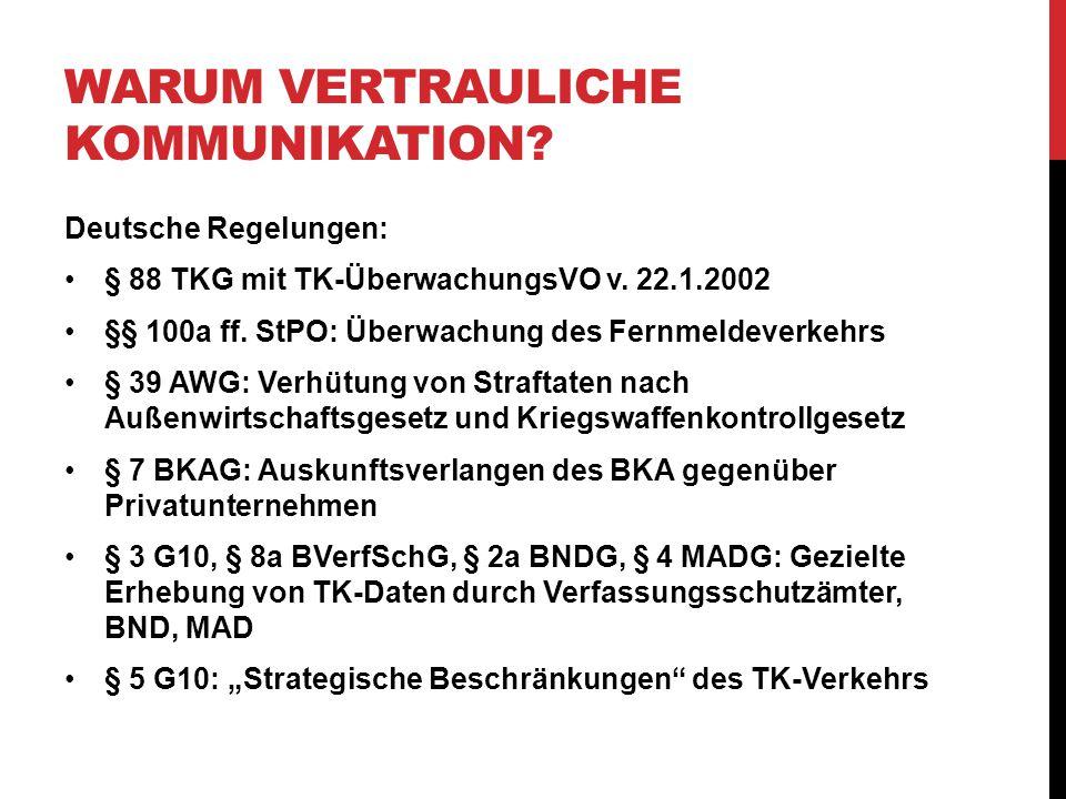 WARUM VERTRAULICHE KOMMUNIKATION. Deutsche Regelungen: § 88 TKG mit TK-ÜberwachungsVO v.