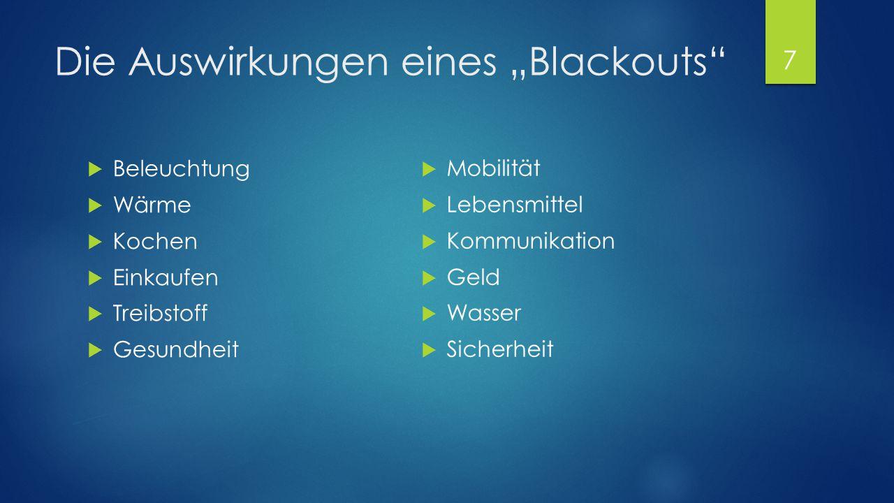 """Die Auswirkungen eines """"Blackouts""""  Beleuchtung  Wärme  Kochen  Einkaufen  Treibstoff  Gesundheit  Mobilität  Lebensmittel  Kommunikation  G"""