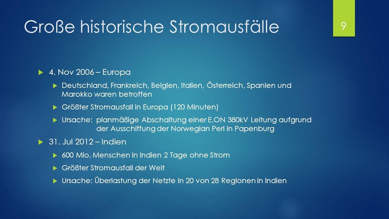 Große historische Stromausfälle  4. Nov 2006 – Europa  Deutschland, Frankreich, Belgien, Italien, Österreich, Spanien und Marokko waren betroffen 