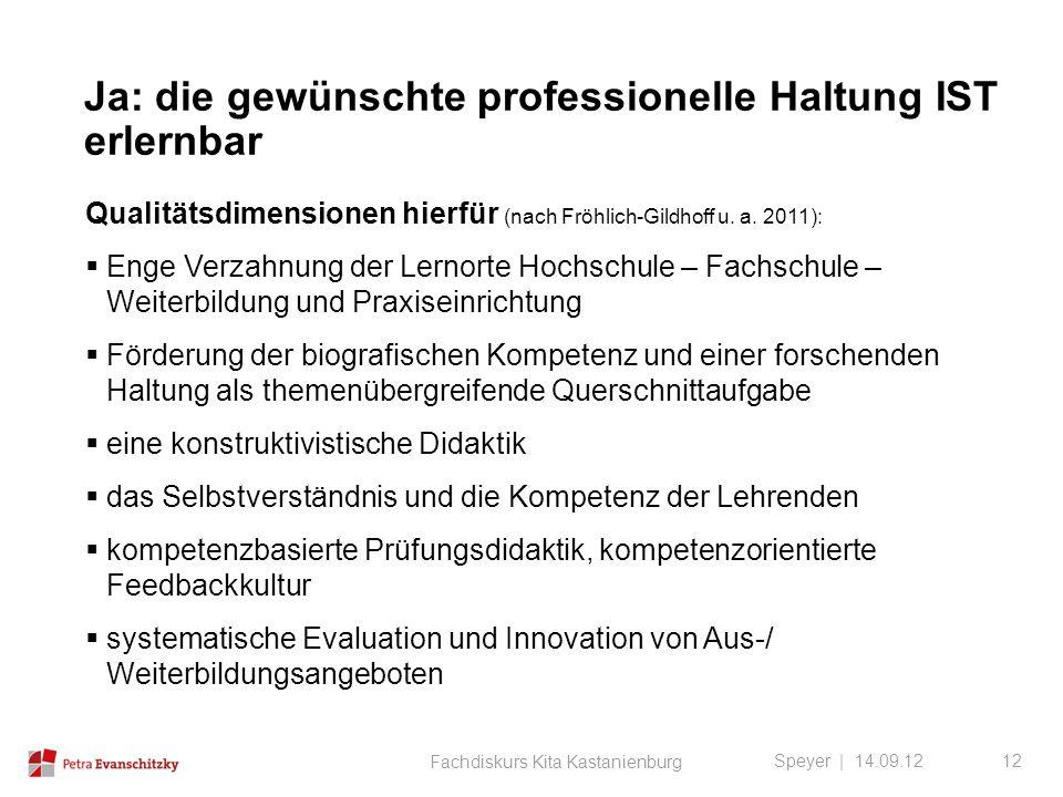 Ja: die gewünschte professionelle Haltung IST erlernbar Speyer | 14.09.12 Qualitätsdimensionen hierfür (nach Fröhlich-Gildhoff u. a. 2011):  Enge Ver