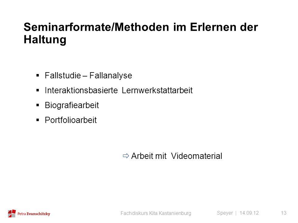 Seminarformate/Methoden im Erlernen der Haltung Speyer | 14.09.12  Fallstudie – Fallanalyse  Interaktionsbasierte Lernwerkstattarbeit  Biografiearb