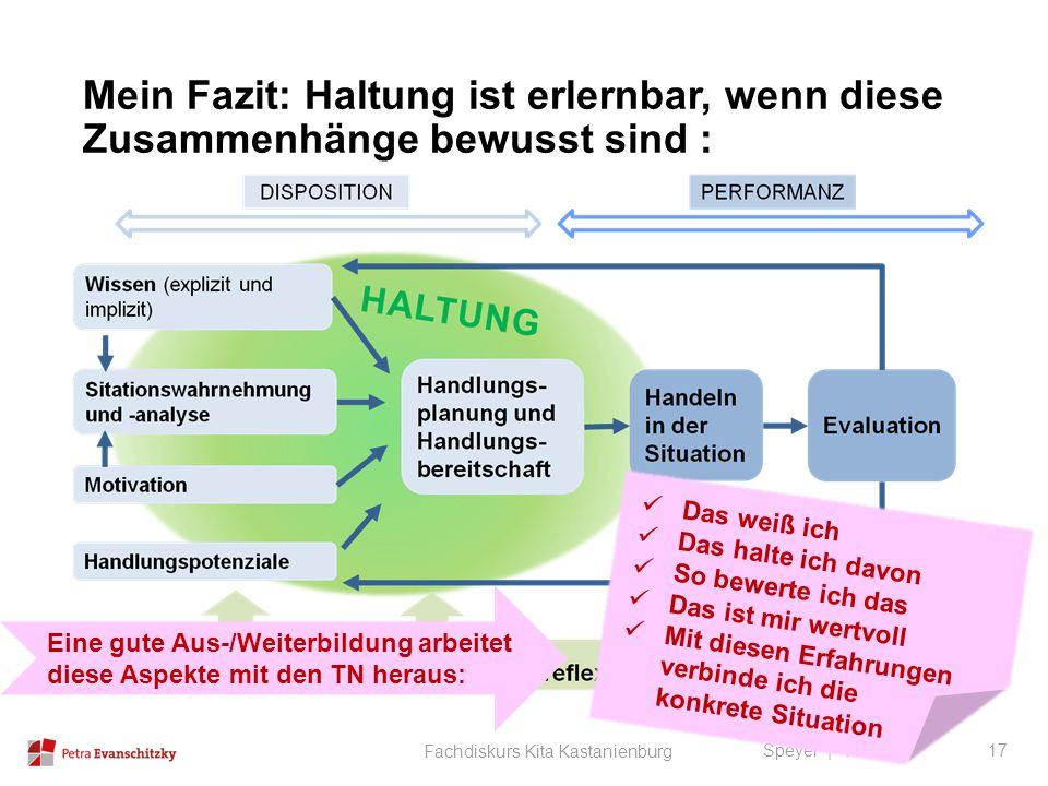 Mein Fazit: Haltung ist erlernbar, wenn diese Zusammenhänge bewusst sind : Speyer | 14.09.12 Fachdiskurs Kita Kastanienburg 17 Das weiß ich Das halte