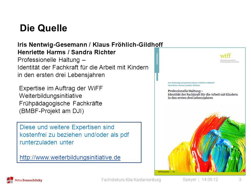 Die Quelle Speyer | 14.09.12 Iris Nentwig-Gesemann / Klaus Fröhlich-Gildhoff Henriette Harms / Sandra Richter Professionelle Haltung – Identität der F