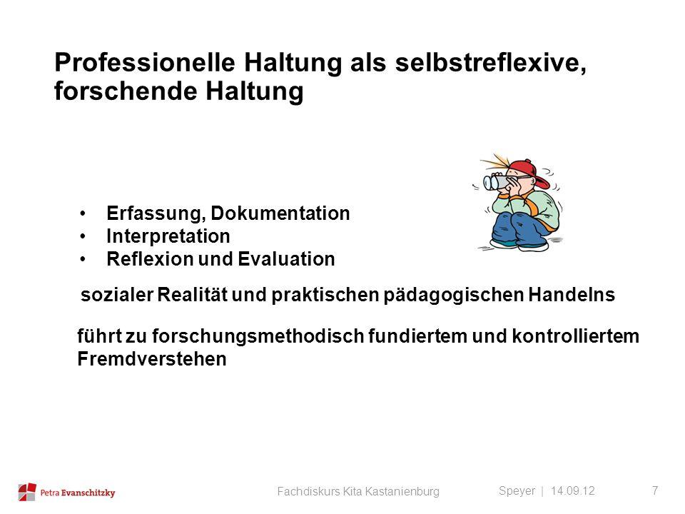 Professionelle Haltung als selbstreflexive, forschende Haltung Speyer | 14.09.12 Erfassung, Dokumentation Interpretation Reflexion und Evaluation sozi