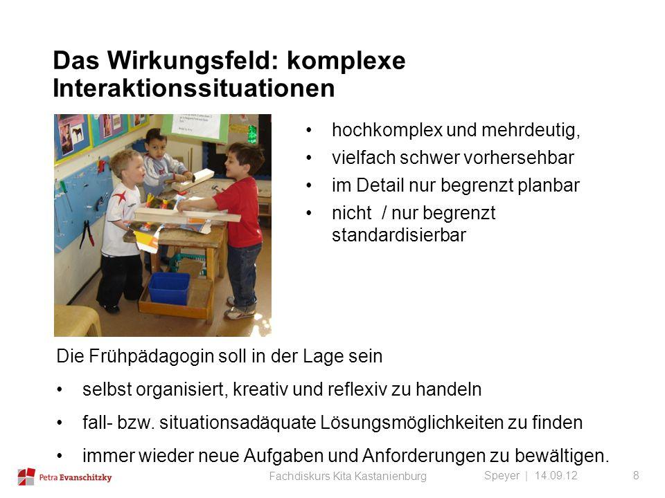 Das Wirkungsfeld: komplexe Interaktionssituationen Speyer | 14.09.12 hochkomplex und mehrdeutig, vielfach schwer vorhersehbar im Detail nur begrenzt p