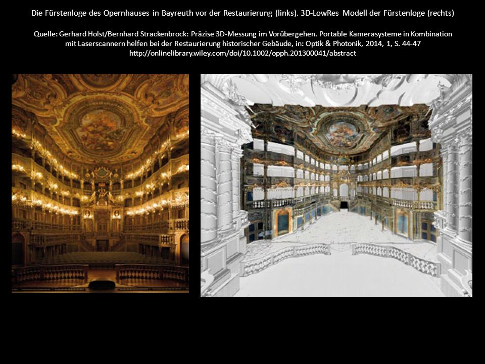 Die Fürstenloge des Opernhauses in Bayreuth vor der Restaurierung (links). 3D-LowRes Modell der Fürstenloge (rechts) Quelle: Gerhard Holst/Bernhard St