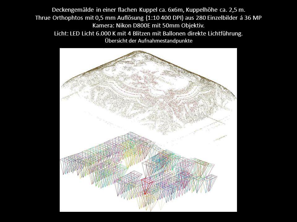 Deckengemälde in einer flachen Kuppel ca. 6x6m, Kuppelhöhe ca. 2,5 m. Thrue Orthophtos mit 0,5 mm Auflösung (1:10 400 DPI) aus 280 Einzelbilder á 36 M