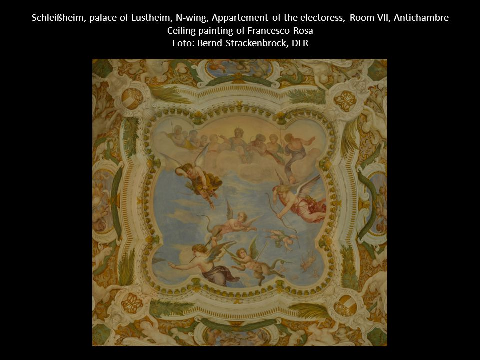 Schleißheim, palace of Lustheim, N-wing, Appartement of the electoress, Room VII, Antichambre Ceiling painting of Francesco Rosa Foto: Bernd Strackenb