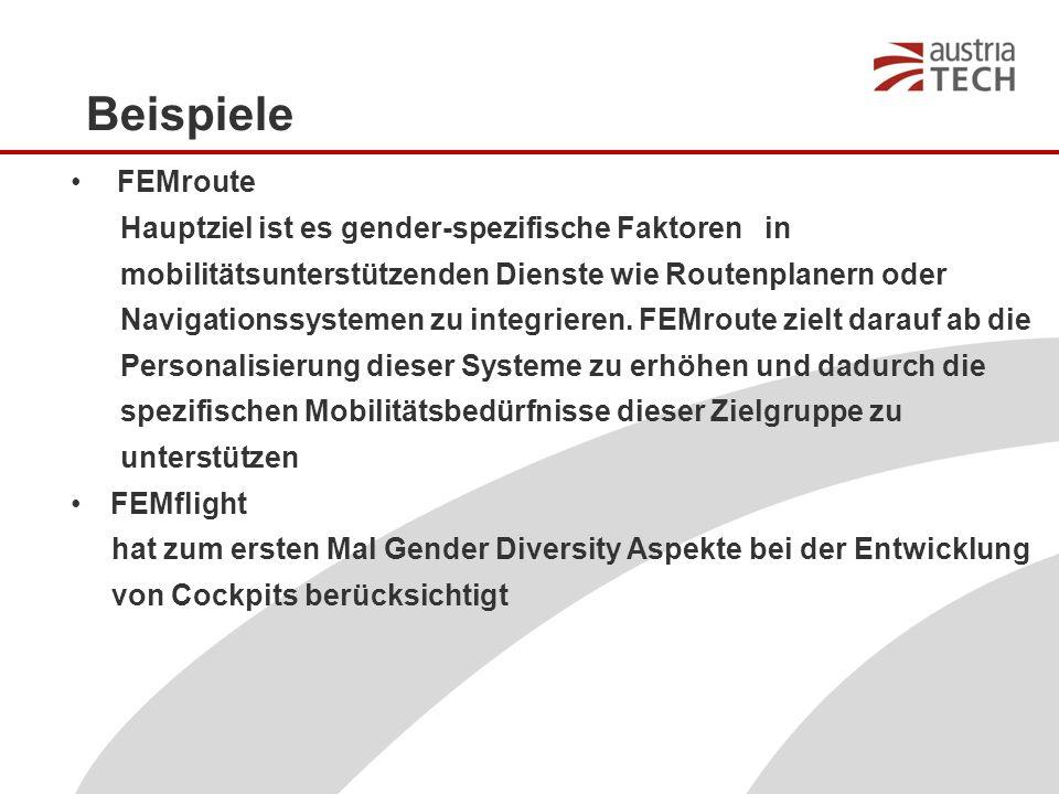Beispiele FEMroute Hauptziel ist es gender-spezifische Faktoren in mobilitätsunterstützenden Dienste wie Routenplanern oder Navigationssystemen zu integrieren.