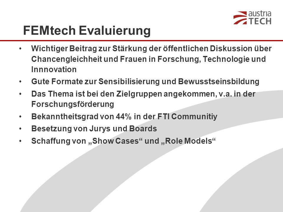 FEMtech Evaluierung Wichtiger Beitrag zur Stärkung der öffentlichen Diskussion über Chancengleichheit und Frauen in Forschung, Technologie und Innnovation Gute Formate zur Sensibilisierung und Bewusstseinsbildung Das Thema ist bei den Zielgruppen angekommen, v.a.