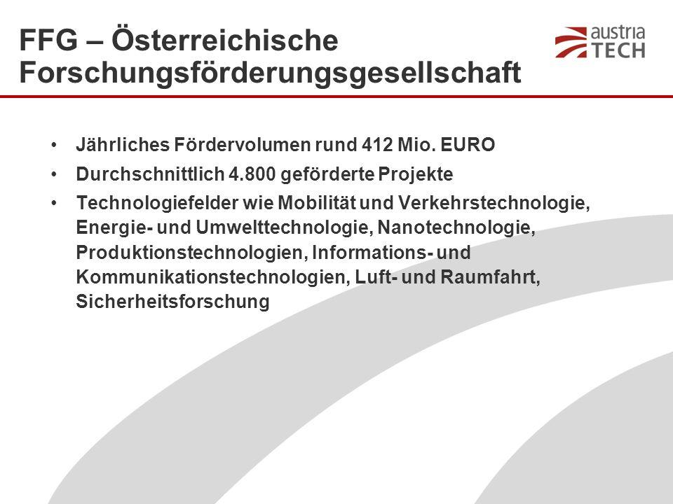 FFG – Österreichische Forschungsförderungsgesellschaft Jährliches Fördervolumen rund 412 Mio.