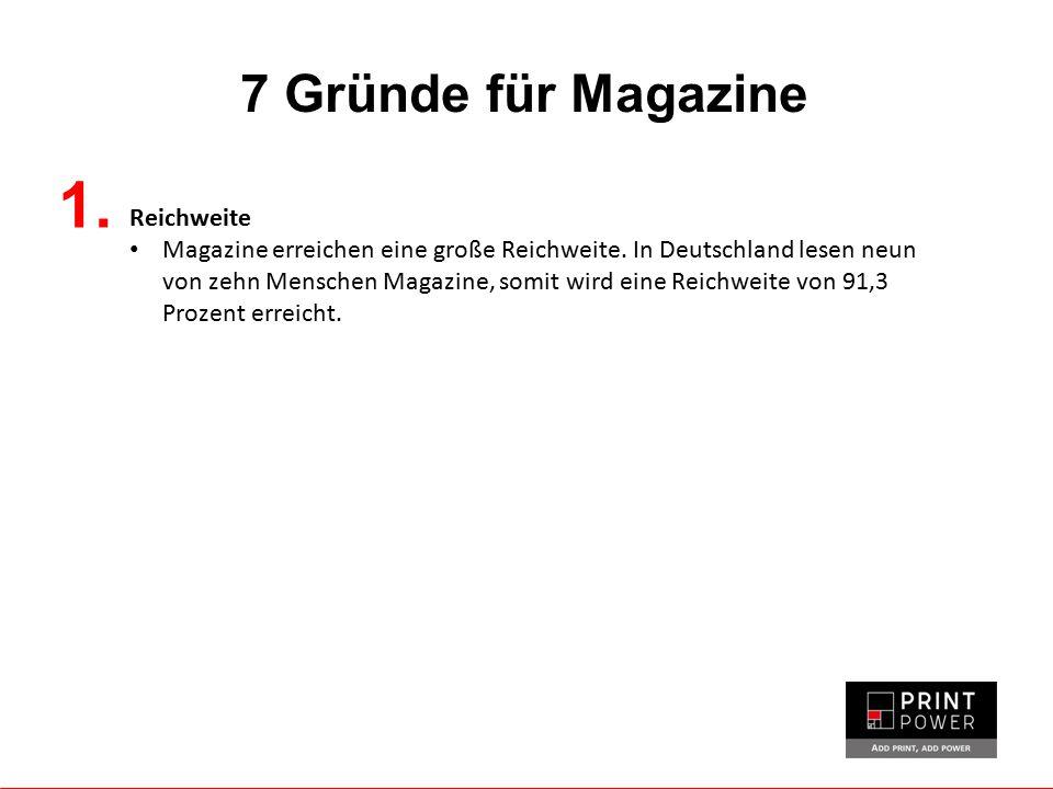 7 Gründe für Magazine 1. Reichweite Magazine erreichen eine große Reichweite. In Deutschland lesen neun von zehn Menschen Magazine, somit wird eine Re