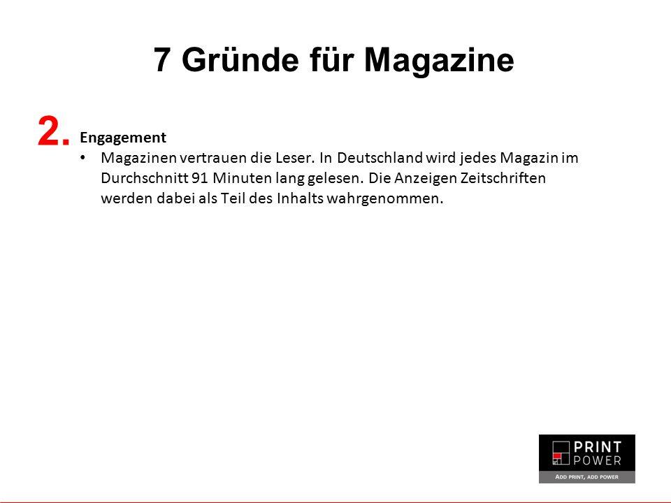 7 Gründe für Magazine Engagement Magazinen vertrauen die Leser. In Deutschland wird jedes Magazin im Durchschnitt 91 Minuten lang gelesen. Die Anzeige