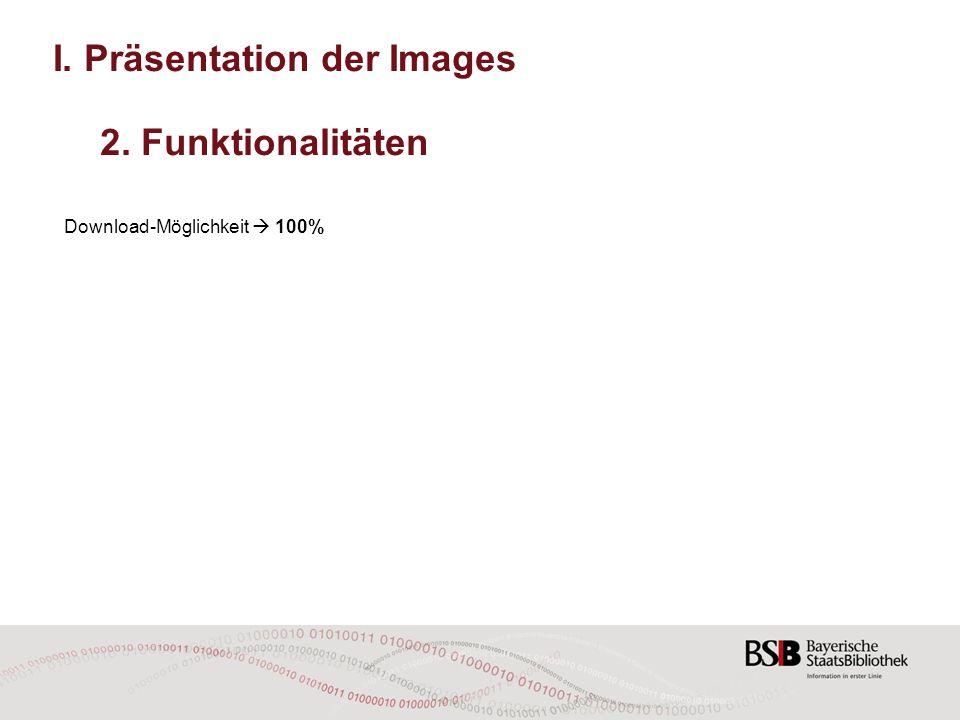 I. Präsentation der Images 2. Funktionalitäten Download-Möglichkeit  100% Druckfunktion  50%