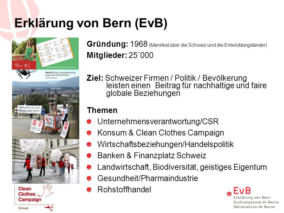 Gründung: 1968 (Manifest über die Schweiz und die Entwicklungsländer) Mitglieder: 25`000 Ziel: Schweizer Firmen / Politik / Bevölkerung leisten einen