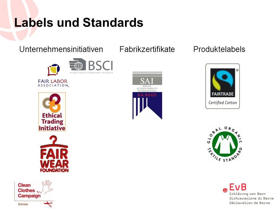 Labels und Standards Unternehmensinitiativen Fabrikzertifikate Produktelabels
