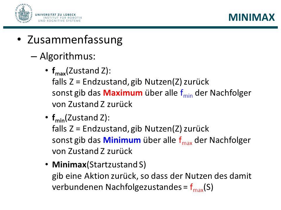 Zusammenfassung – Algorithmus: f max (Zustand Z): falls Z = Endzustand, gib Nutzen(Z) zurück sonst gib das Maximum über alle f min der Nachfolger von