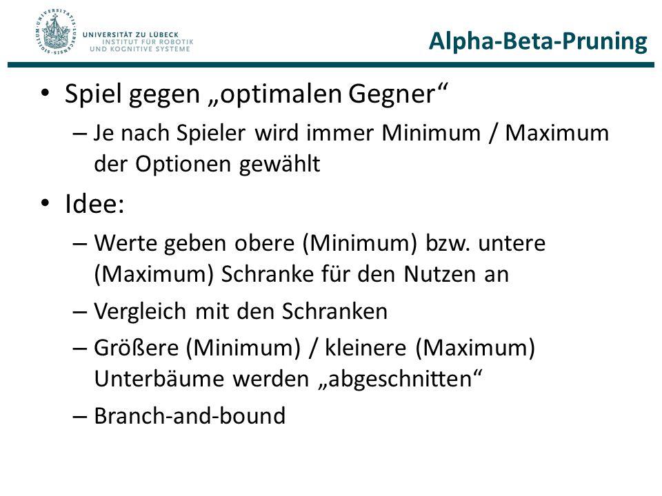 """Alpha-Beta-Pruning Spiel gegen """"optimalen Gegner"""" – Je nach Spieler wird immer Minimum / Maximum der Optionen gewählt Idee: – Werte geben obere (Minim"""