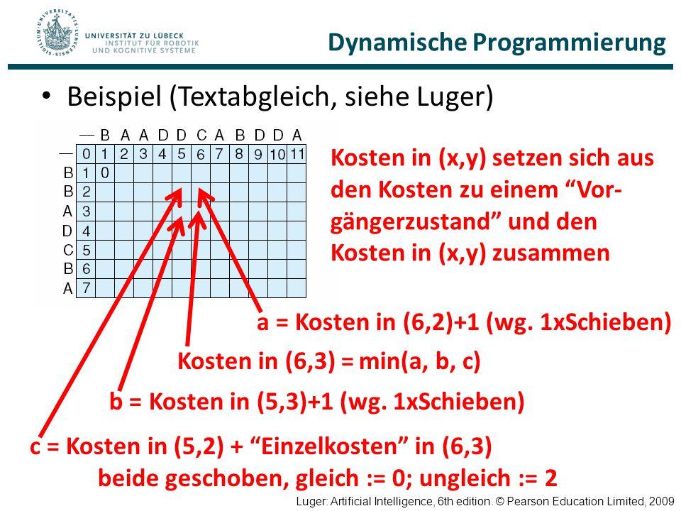 Dynamische Programmierung Beispiel (Textabgleich, siehe Luger) Luger: Artificial Intelligence, 6th edition. © Pearson Education Limited, 2009 Kosten i