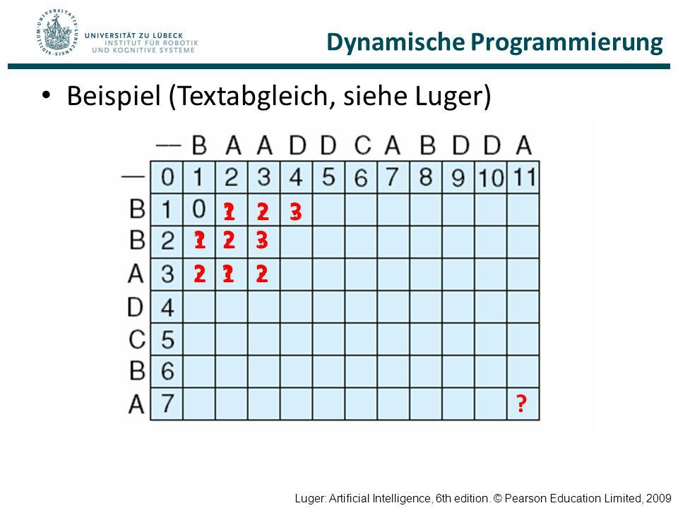 Dynamische Programmierung Beispiel (Textabgleich, siehe Luger) Luger: Artificial Intelligence, 6th edition. © Pearson Education Limited, 2009 ? ?1?2?3