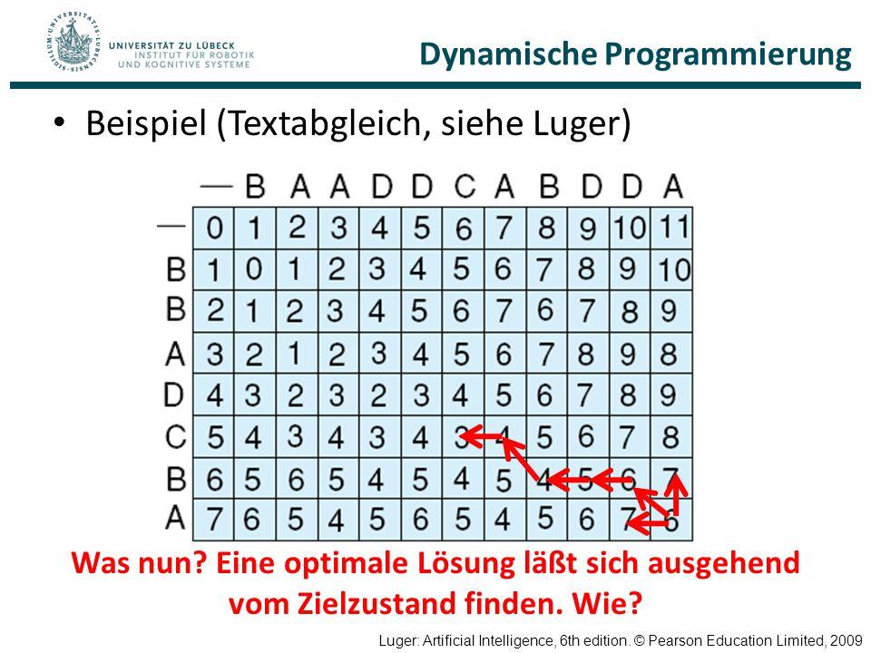 Dynamische Programmierung Beispiel (Textabgleich, siehe Luger) Luger: Artificial Intelligence, 6th edition. © Pearson Education Limited, 2009 Was nun?