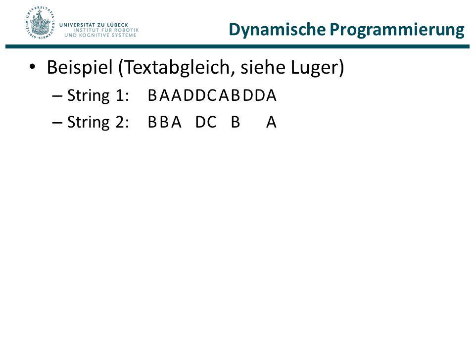 Dynamische Programmierung Beispiel (Textabgleich, siehe Luger) – String 1:BAADDCABDDA – String 2:BBADCBA