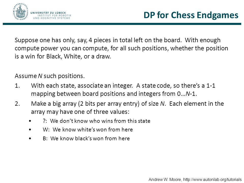 DP for Chess Endgames Suppose one has only, say, 4 pieces in total left on the board.