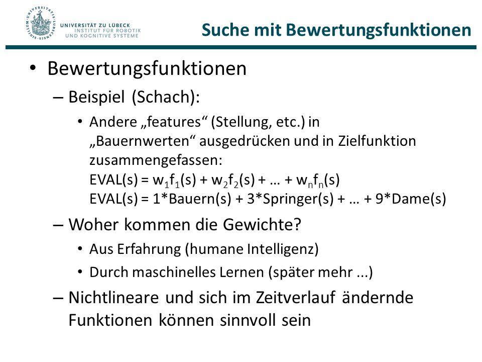 """Suche mit Bewertungsfunktionen Bewertungsfunktionen – Beispiel (Schach): Andere """"features"""" (Stellung, etc.) in """"Bauernwerten"""" ausgedrücken und in Ziel"""
